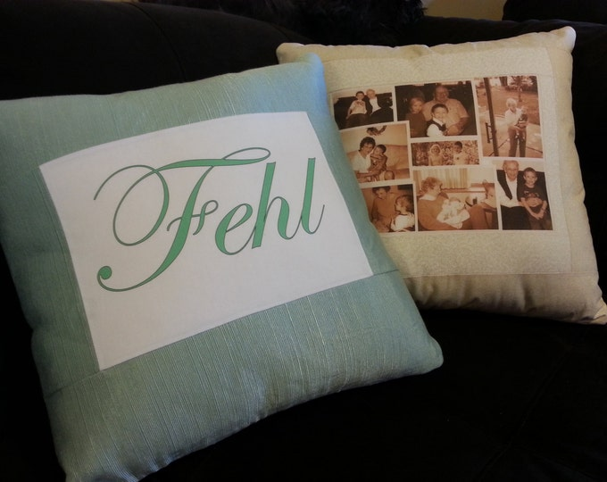 Large Photo Memory Pillow 18in x 18in with 8x10 photo on fabric FREE Collage Creation