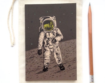 Astronaut Spaceman Moon Journal, blank sketch book, recycled paper, small pocket size, luna stellar design with stars and space moonwalk
