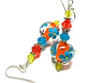 Orange Floral Earrings Lampwork Earrings Orange Earrings Flower Earrings Artisan Earrings Glass Earrings Beaded Earrings Glass Bead Earrings