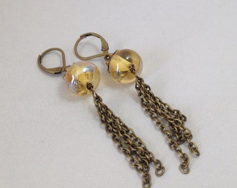Iridescent Yellow Glass and Brass Chain Fringe Earrings (E-475)