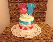 Tutus or ties Gender Reveal Diaper Cake baby shower centerpiece other styles and sizes colors available