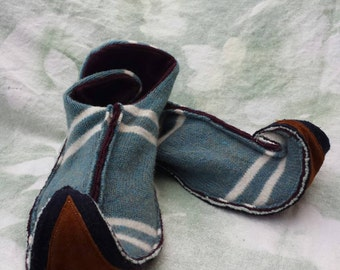 XL elf slippers upcycled wool and leather
