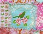 Rag Quilt with Heather Bailey Up Parasol Fabrics Lap/Throw Size Reversible ready to ship OOAK