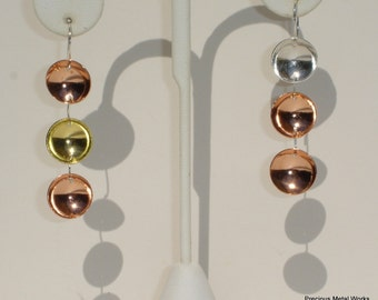 2nd Star to the East, handmade, sterling, copper and brass concave disc, pierced earrings