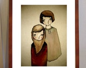 Big Sister, Little Sister A4- Limited Edition Print of sweet sister pair