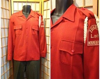 50s / 60s red rayon gabardine Shriner/ marching band  jacket mens size large