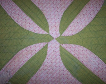 Antique Cutter Quilt Pc,Primitive,Green, Pink,Rob Peter to Pay Paul Pattern