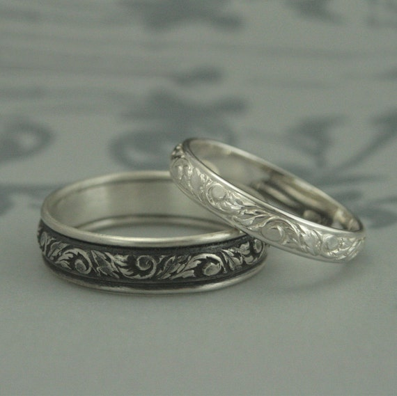 Silver Wedding Band SetHis And Hers Leaf Patterned