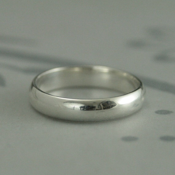 Men's Wedding Band--Plain Jane 4mm Wide Band--Low Profile Rounded Traditional Ring-Sterling Silver Ring-Women's Wedding Ring-Half Round Band