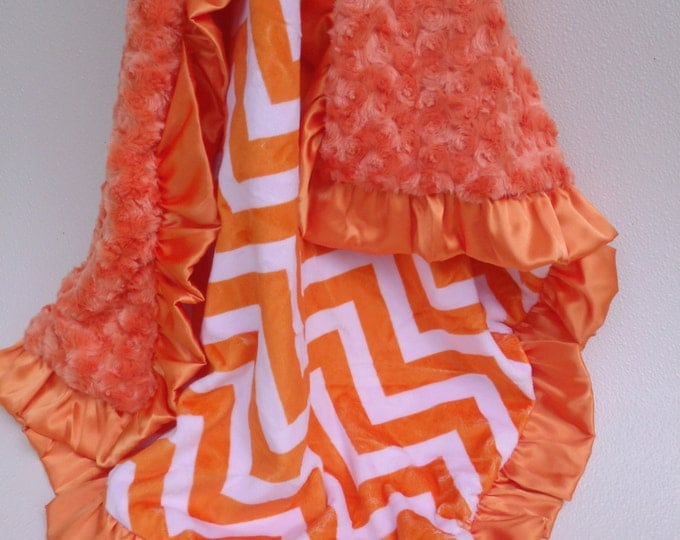 Orange Chevron Minky Baby Blanket, also for toddler or teen