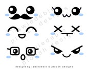 Digital Prints of 6 Kawaii Faces Blue Cheeks (via Email) for Cards, Tags, Scrapbooking, Collage, Stickers, Namecards