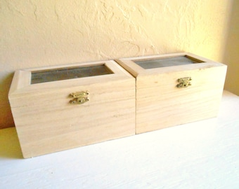 Pair of Unfinished Wood Wooden Boxes with Hinged Lids and Latches Craft Project