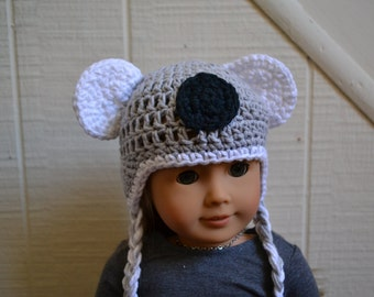18 inch Doll Clothes - Crocheted Beanie with Ear Flaps - Kooky Koala - MADE TO ORDER - fits American Girl
