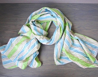 Huge silk  wrap shawl in pastel stripes