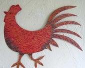 Metal wall art sculpture home decor- Rooster - kitchen dining room wall folk art chickens barn yard art farm animals