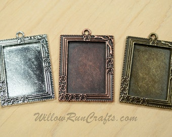 50 pcs 25mm x 35mm Victorian Rectangle Pendant trays in Antique Copper, Antique Silver, Antique Bronze  25mm x 35mm.