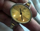 Vintage Bangle Gold Watch - Swiss - Windup - 1970s MOD -WORKS