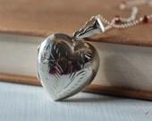 Vintage Inspired Heart Locket on Garnet and Silver Necklace