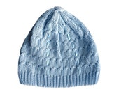 Knit Baby boy braided light blue hat with ribbons