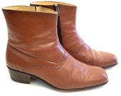 Vintage Brown LEATHER Winklepicker Ankle BOOTS- Size 10 Bob Dylan Boots Beatles Boots - Free Shipping USA