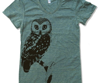 Womens URBAN OWL T-Shirt american apparel S M L XL (15 Colors Available)