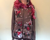 UGLY CHRISTMAS Sweater Cardigan //  Birds And MITTENS Bling //  Fits Large to Ex Large //