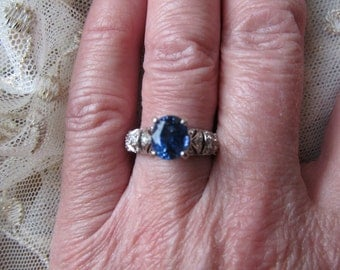 Danusharose Vintage EdwardianStyle 2.40 carat BlueSapphire Diamond White Gold Size 7 Ring plus Fine Jewelry Report