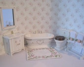 Miniature Bathroom,  five piece dollhouse Bathroom ,  whitebath, hand painted,  rose bouquets,  Twelfth scale dollhouse miniature