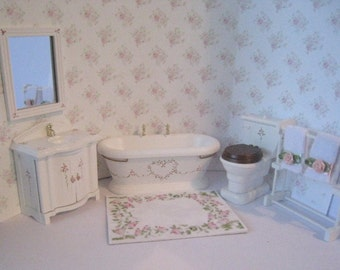 Dollhouse bathroom, Six piece bathroom set,  Miniature bathroom,  twelfth scale bathroom set.