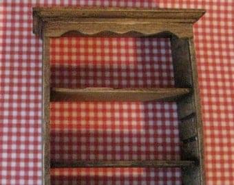 Dollhouse Wall  shelf, , country style shelf, dark oak shelf, miniature shelf, empty shelf , twelfth scale