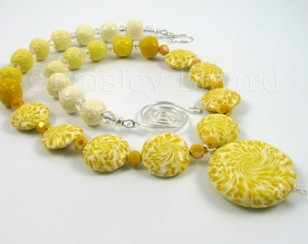 Yellow Swirls Statement Necklace, polymer clay and glass beads with non-tarnish wire, Air Element jewelry