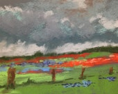 It's About to Rain, 5 x 7 original pastel painting, framed