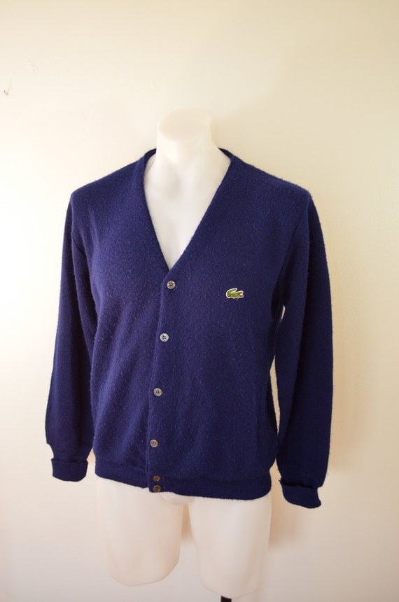 on sale vintage izod lacoste cardigan sweater mens medium dark. Black Bedroom Furniture Sets. Home Design Ideas