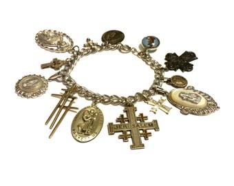 Religious Medal Charm Bracelet, Vintage Sterling Silver Bracelet, Sterling Charms, Antique Silver Charms, Religious Charms Sterling Bracelet
