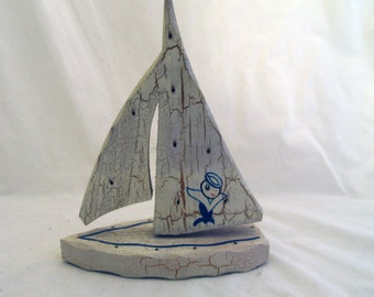 Vintage wooden sailboat toy