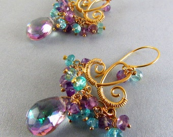 25% Off Summer Sale Mystic Quartz, Pink Amethyst and Apatite Chandelier Earrings, Exotic, Boho