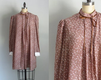 90s babydoll calico sheer floral tent vintage mini grunge dress medium