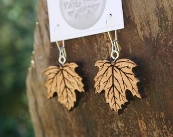 Wood Leaf Earrings- Maple Leaf Earrings in Juniper Wood- Wooden Earrings- Wooden Jewelry, Boho Jewelry