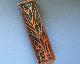 Tree of Life Mezuzah in Etched Copper and Silver NEW!