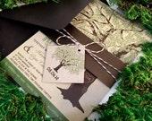 Sample Rustic Wedding Invitation, Oak Tree Wedding Invitation on Kraft Paper, Bellyband, Brown Twine Tag, Save the Date, Shower, Printable