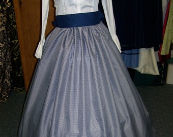 SALE Child's Civil War,Victorian,costume Long string SKIRT and Sash one size fit all Navy and white checked Taffia, Navy blue Sash Handmade