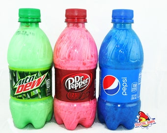 HALF PRICE Super Sale Dr Pepper, Mtn Dew and Pepsi Bath Gel Set, Geeky Soap, Gamer Gift
