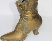 Rustic Brass Victorian Lace up Boot Shoe Vase