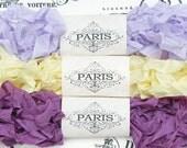 Seam Binding, Scrunched Ribbon, Shabby Crinkled Ribbon, Rayon Ribbon, Lavender,Lemon,Purple, French Vintage, Bear Supplies, Pansy Delights