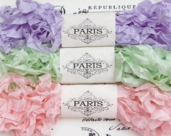 Seam Binding, Ribbon,Shabby Crinkled Ribbon,Rayon ribbon, Lavender,Green,Mint,Pink,French Vintage,Shabby Cottage, Australia, Parisian Candy