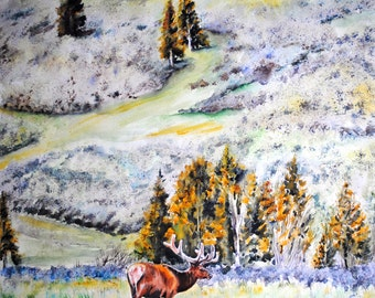 Original Watercolor, Yellowstone Elk, wildlife, painting, by Tracy Rose Moyers, western landscape