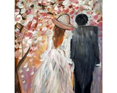 on SALE OIL Painting Cherry Tree Blossom Spring Wedding Impasto on Canvas 11x14