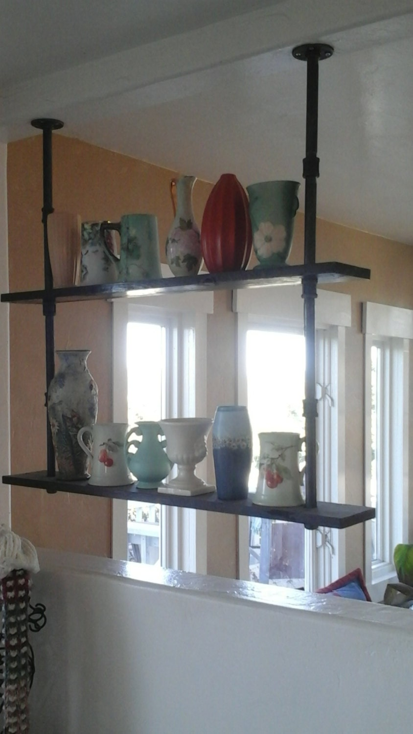 steampunk shelves reclaimed wood and pipes shelf industrial. Black Bedroom Furniture Sets. Home Design Ideas