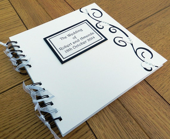 "Wedding Guest Book, 8""x8"" Memory Book, Bride and Groom Photo Album, other colours available"