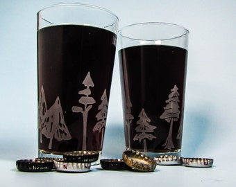 WinterTrees Sandblasted Etched Pint Glass
